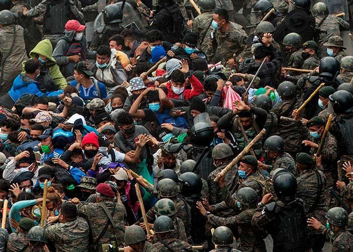 migrantes, hondurenos, honduras, caravana migrante, ejercito, guatemala, violencia,