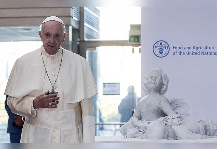Una de las visitas del Papa Francisco a la FAO