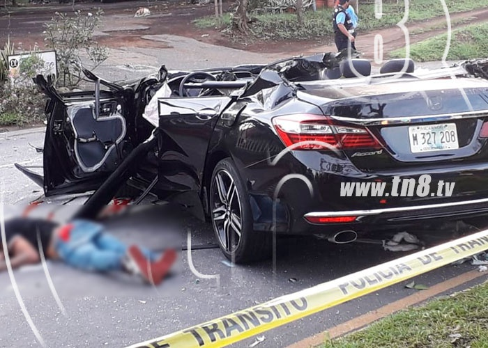 nicaragua,  carretera hacia masaya, accidente vial, muerte de hombre, camaras de seguridad,