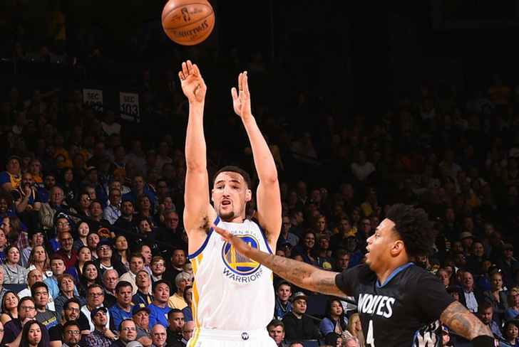 klay, thompson, stephen, curry, golden, state, warriors, andrew, wiggins, ricky, rubio,-Klay Thompson anota 41, Warriors vencen a Timberwolves