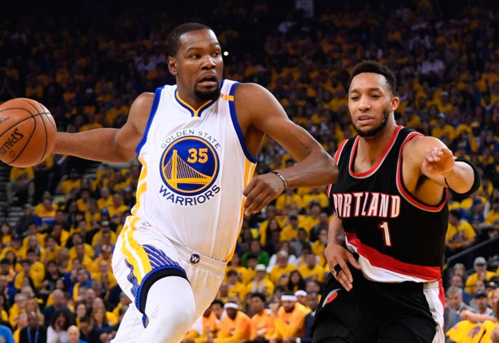 golden, state, warriors, conferencia, oeste, portland, trail, blazers, kevin, durant, stephen, curry,-Durant brilla en debut de los Warriors en playoffs