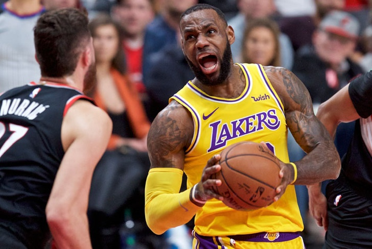 lebron, james, lakers, angeles, trail, blazers, portland, damian, lilard, mccollum,