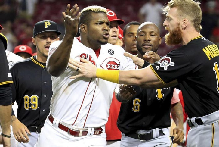 reds, pirates, trifulca, suspension, amir garrett