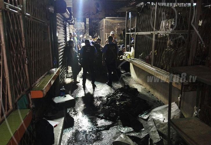 11 tramos quemados en incendio ocurrido anoche en Mercado Roberto Huembes