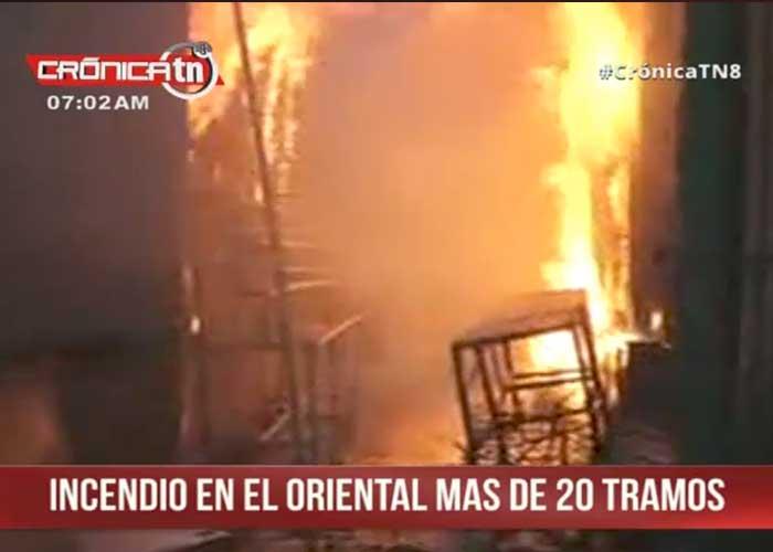 Un incendio consume parte de gran mercado público en Nicaragua