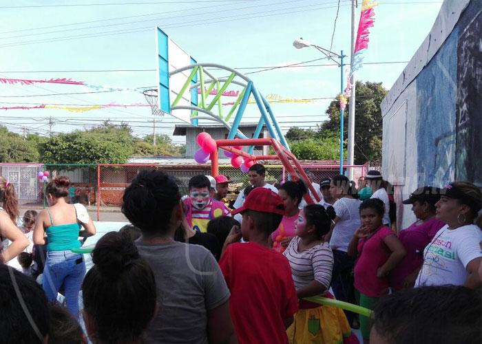 nicaragua, barrio domitila lugo, inauguracion, parque, cancha multiuso,
