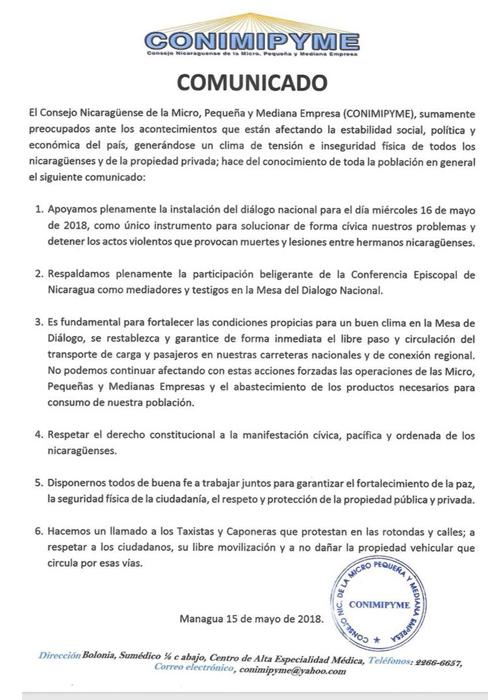 nicaragua, dialogo nacional, conimipyme, libre circulacion, carreteras,