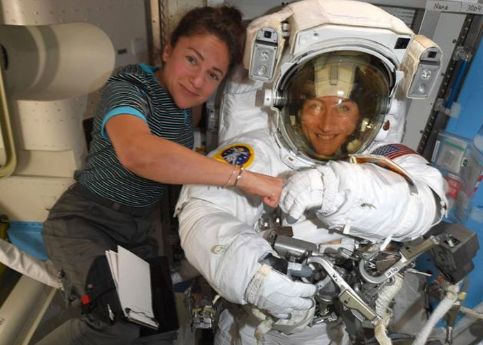 nasa, caminata espacial femenina, astronautas, jessica meir, estación espacial internacional, christina koch