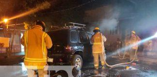 nicaragua, managua, incendio en vehículo, villa progreso,