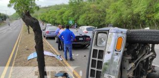 nicaragua, accidente, carretera nueva a leon, vuelco, camioneta,