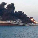 iran, golfo de oman, incendio, buque militar, hundimiento, autoridades,