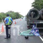 nicaragua, accidente, carretera nueva a leon, motociclista, camion,