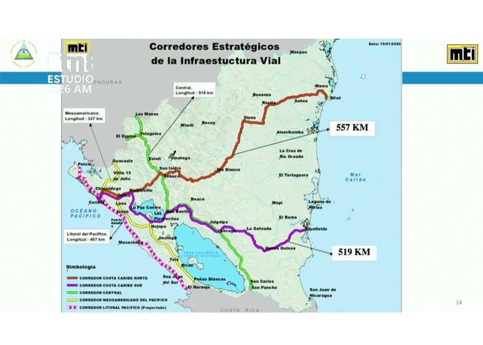 nicaragua, red vial, carreteras, construccion, mti,