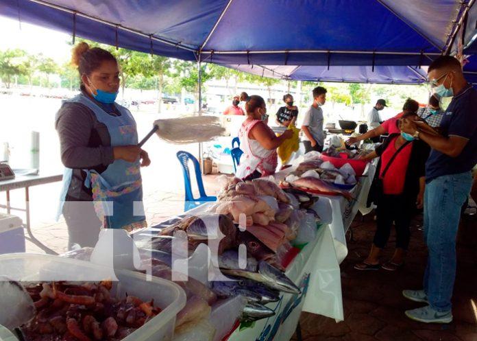 managua, plaza 22 de agosto, pescados, variedad, comerciantes