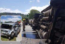 Vuelco de un camión cisterna en Honduras