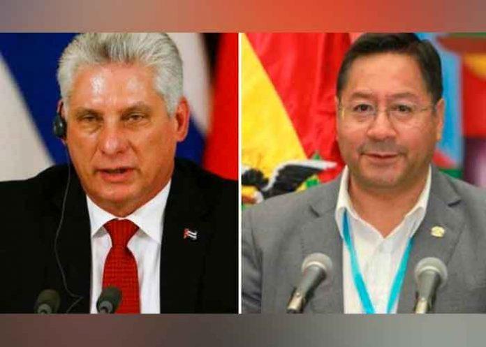 Presidente de Bolivia Luis Arce junto a su homólogo de Bolivia