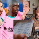 Fan de Messi a sus 100 años anota a mano todos los goles del jugador