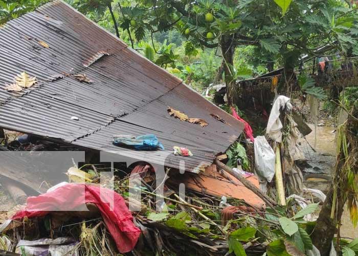 Calles afectadas y viviendas en Santo Domingo, Chontales
