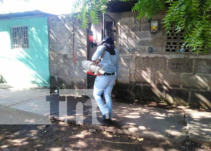 Fumigación en casas del barrio Domitila Lugo, Managua