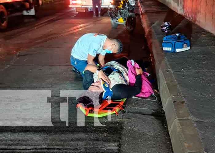Imagen de la joven accidentada en Managua
