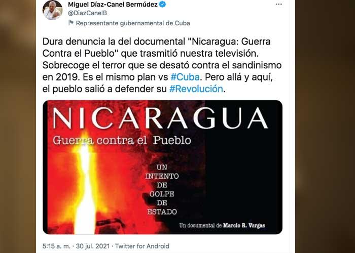 Tuit del presidente de Cuba, Miguel Díaz-Canel, sobre el documental de Nicaragua