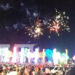 Fuegos artificiales en la Plaza La Fe, en Managua, por el Aniversario de la Revolución