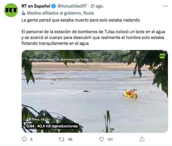 Video del hombre en e río de estados unidos