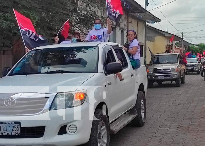 Cientos de militantes Sandinista con una grandiosa caravana seguida de un acto conmemoran el 36 aniversario de los caídos en Cuapa