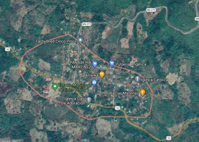 Imagen satelital de Cinco Pinos, Chinandega
