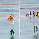 """Pensaron que el hombre estaba muerto, pero solo """"se echaba un pelón"""" en medio del río"""