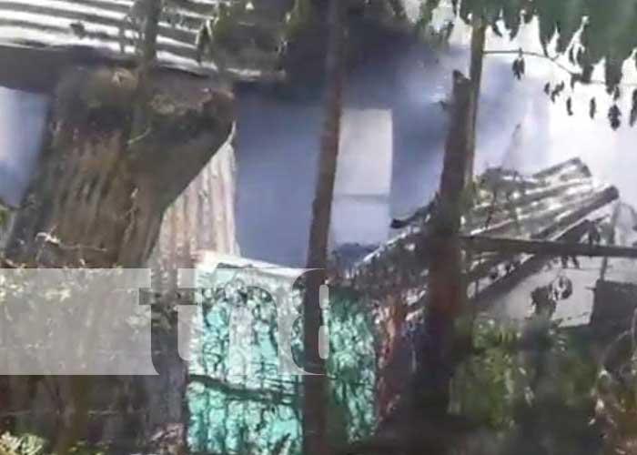 Vivienda donde se registró un voraz incendio en Jinotega