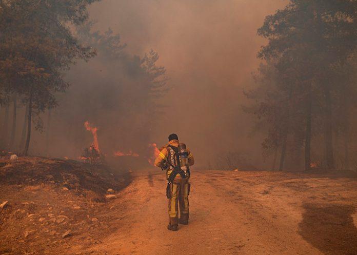 Un bomberos en los incendios en Turquía / FOTO / AFP