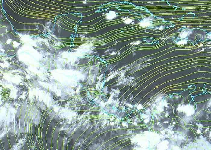 Proyección del clima en la región de Nicaragua con posibilidades de lluvias