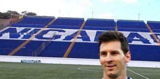 Imagen de Messi en montaje con el Estadio Nacional de Nicaragua