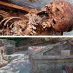 Tumba con un cuerpo momificado en Pompeya