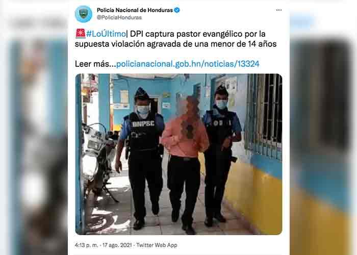 Capturan a pastor evangélico acusado de abusar de una niña en Honduras