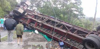 Rastra que sufrió un accidente de tránsito en Jinotega