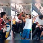 ¡Por el asiento! Mujer se pelea en el bus con todo y bebé en brazos