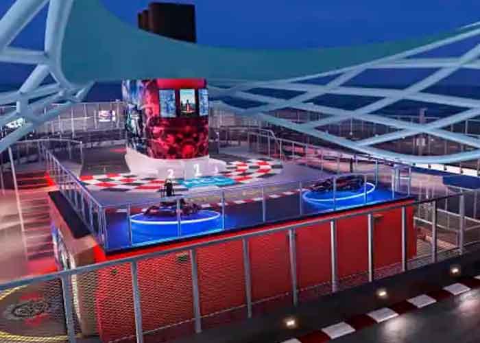 Foto: Representación de la pista de go-karts de tres niveles a bordo del Norwegian Prima. | Créditos: Norwegian Cruise Line