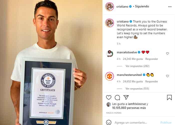 Cristiano Ronaldo posee el récords Guinness de máximo goleador en selecciones