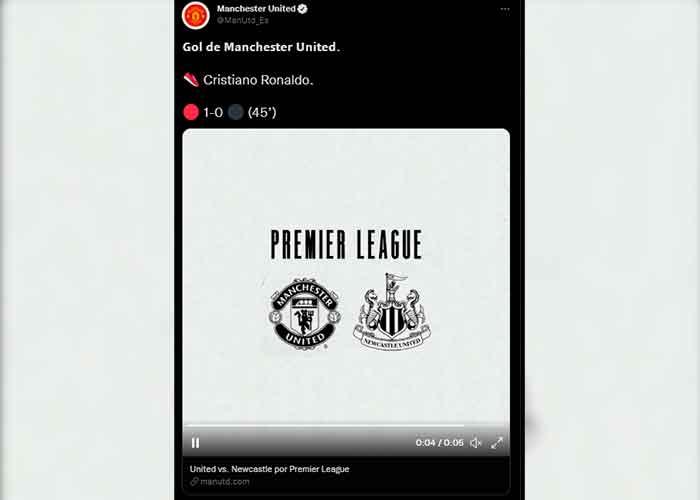 CR7anotó este sábado su 119º gol con el Manchester United