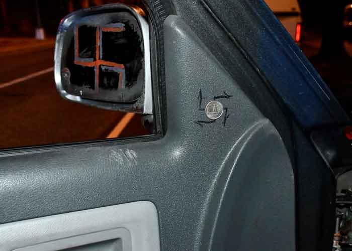 En la camioneta encontraron una bayoneta y un machete, armas que son ilegales en el Distrito de Columbia