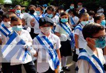Estudiantes de Tipitapa desfilan en celebración a la Patria
