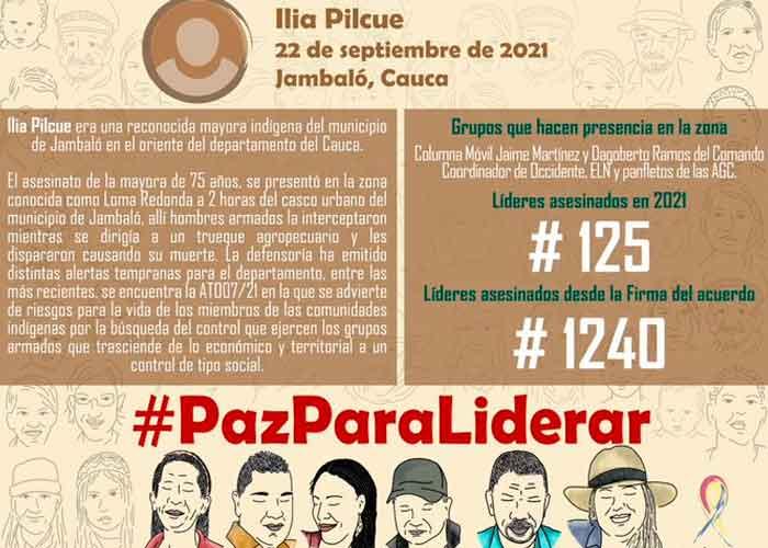 De acuerdo a Indepaz, la víctima respondía al nombre de Ilia Pilcue