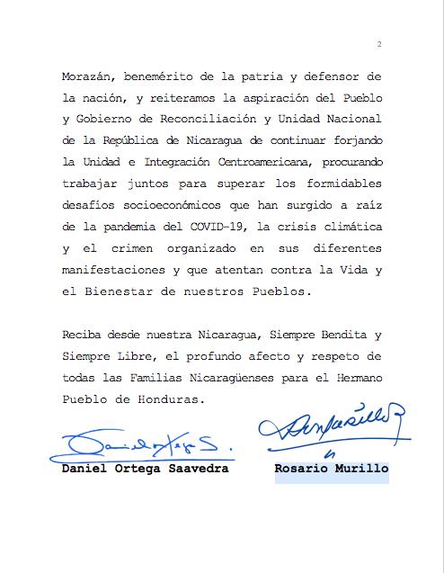 Mensaje de Nicaragua para Honduras por la Independencia Centroamericana