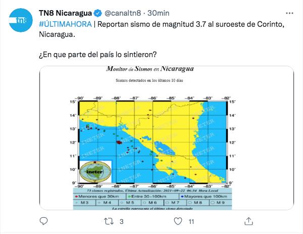 Réplicas continúan tras fuerte sismo de 6.2 en Nicaragua