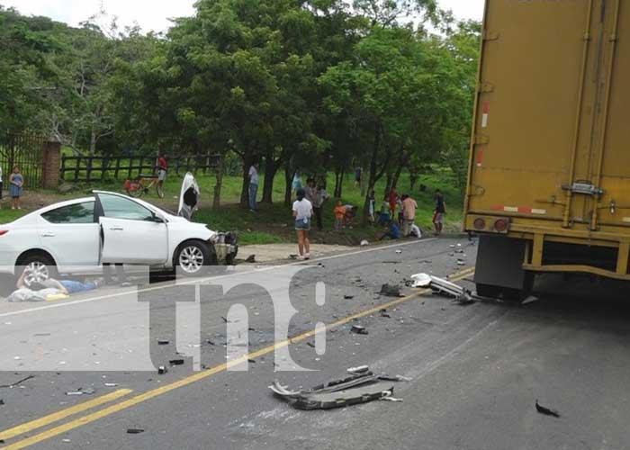 Lugar de un fuerte accidente de tránsito en Estelí