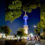 Icónica torre en Seúl se ilumina con los colores patrios de Nicaragua