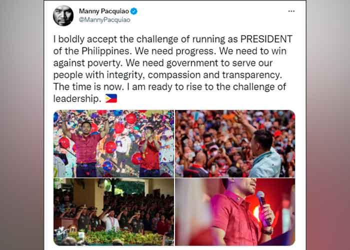 Manny Pacquiao anunció su candidatura a presidente de Filipinas
