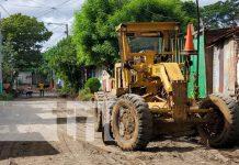 Reparación de calles en el barrio Hialeah, Managua